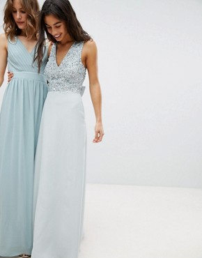 photo Sleeveless Sequin Bodice Maxi Dress with Cutout and Bow Back Detail by Maya Petite, color Ice Blue - Image 4