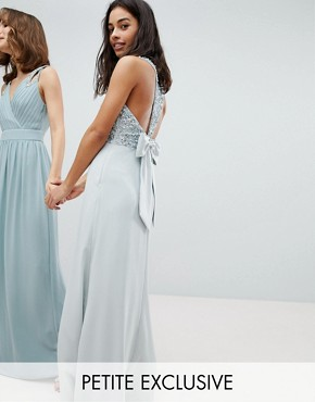 photo Sleeveless Sequin Bodice Maxi Dress with Cutout and Bow Back Detail by Maya Petite, color Ice Blue - Image 1