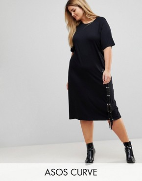 photo Midi T-Shirt Dress with Lace Up by ASOS CURVE, color Black - Image 1