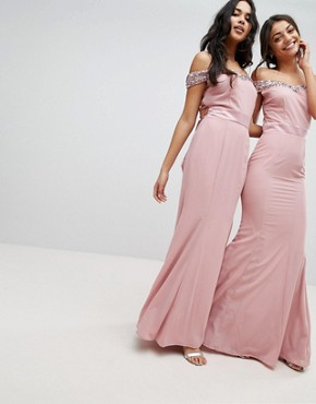 photo Bardot Sequin Detail Maxi Dress with Bow Back Detail by Maya Tall, color Vintage Rose - Image 2