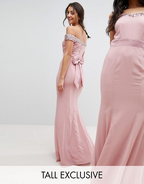 photo Bardot Sequin Detail Maxi Dress with Bow Back Detail by Maya Tall, color Vintage Rose - Image 1