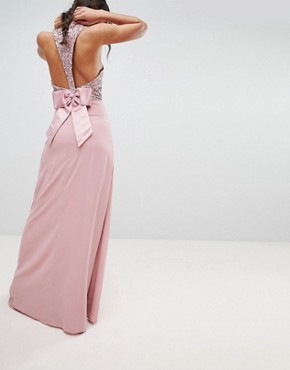 photo Sleeveless Sequin Bodice Maxi Dress with Cutout and Bow Back Detail by Maya Tall, color Vintage Rose - Image 2
