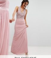 photo Sleeveless Sequin Bodice Maxi Dress with Cutout and Bow Back Detail by Maya Tall, color Vintage Rose - Image 1