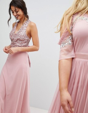 photo Sleeveless Sequin Bodice Maxi Dress with Cutout and Bow Back Detail by Maya Tall, color Vintage Rose - Image 4