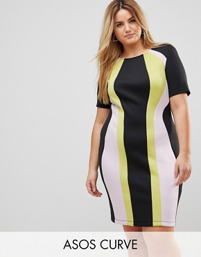 photo Colourblock Mini Shift Dress by ASOS CURVE, color Multi - Image 1