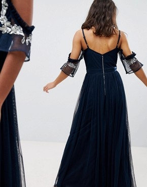 photo Cold Shoulder Sequin Detail Tulle Maxi Dress with Ruffle Detail by Maya Petite, color Navy - Image 2