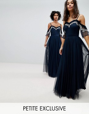 photo Cold Shoulder Sequin Detail Tulle Maxi Dress with Ruffle Detail by Maya Petite, color Navy - Image 1