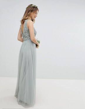 photo Sleeveless Sequin Bodice Tulle Detail Maxi Bridesmaid Dress with Cutout Back by Maya Petite, color Green Lily - Image 2