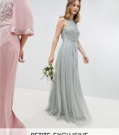 photo Sleeveless Sequin Bodice Tulle Detail Maxi Bridesmaid Dress with Cutout Back by Maya Petite, color Green Lily - Image 1