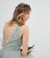 photo Sleeveless Sequin Bodice Tulle Detail Maxi Bridesmaid Dress with Cutout Back by Maya Petite, color Green Lily - Image 3