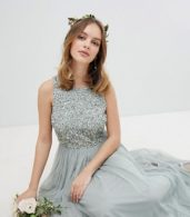 photo Sleeveless Sequin Bodice Tulle Detail Maxi Bridesmaid Dress with Cutout Back by Maya Petite, color Green Lily - Image 4