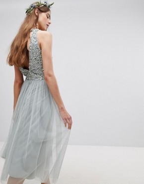 photo Sleeveless Sequin Bodice Tulle Detail Midi Bridesmaid Dress with Cutout Back by Maya Tall, color Green Lily - Image 2