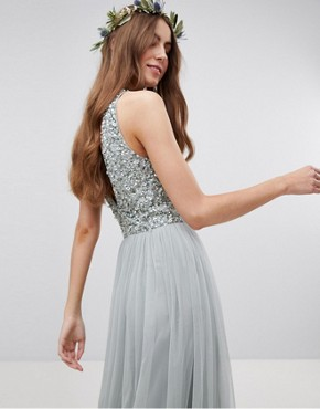 photo Sleeveless Sequin Bodice Tulle Detail Maxi Bridesmaid Dress with Cutout Back by Maya Tall, color Green Lily - Image 2