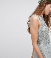 photo Sleeveless Sequin Bodice Tulle Detail Maxi Bridesmaid Dress with Cutout Back by Maya Tall, color Green Lily - Image 3