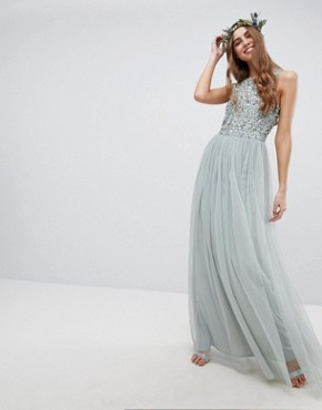 photo Sleeveless Sequin Bodice Tulle Detail Maxi Bridesmaid Dress with Cutout Back by Maya Tall, color Green Lily - Image 4