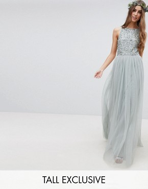 photo Sleeveless Sequin Bodice Tulle Detail Maxi Bridesmaid Dress with Cutout Back by Maya Tall, color Green Lily - Image 1
