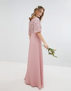 photo Sequin Top Maxi Bridesmaid Dress with Flutter Sleeve Detail by Maya Petite, color Vintage Rose - Image 2