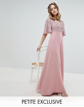 photo Sequin Top Maxi Bridesmaid Dress with Flutter Sleeve Detail by Maya Petite, color Vintage Rose - Image 1