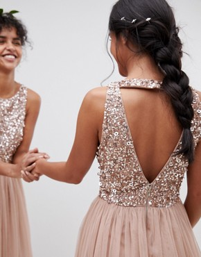 photo Sleeveless Sequin Bodice Tulle Detail Mini Bridesmaid Dress with Cutout Back by Maya Petite, color Taupe Blush - Image 2