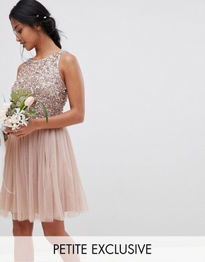 photo Sleeveless Sequin Bodice Tulle Detail Mini Bridesmaid Dress with Cutout Back by Maya Petite, color Taupe Blush - Image 1