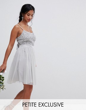 photo Cami Strap Sequin Top Tulle Detail Mini Bridesmaid Dress by Maya Petite, color Micro Chip - Image 1