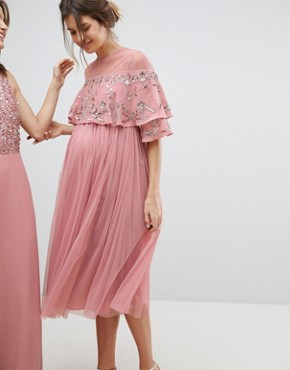 photo Sheer Detail Sequin Cape Overlay Detail Midi Dress by Maya Maternity, color Vintage Rose - Image 2