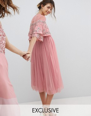 photo Sheer Detail Sequin Cape Overlay Detail Midi Dress by Maya Maternity, color Vintage Rose - Image 1