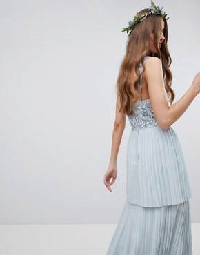 photo Floral Sequin Top Maxi Bridesmaid Dress with Tiered Ruffle Pleated Skirt by Maya Tall, color Ice Blue - Image 2