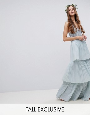 photo Floral Sequin Top Maxi Bridesmaid Dress with Tiered Ruffle Pleated Skirt by Maya Tall, color Ice Blue - Image 1