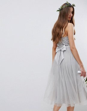 photo Cami Strap Sequin Top Tulle Detail Midi Bridesmaid Dress by Maya Tall, color Micro Chip - Image 2