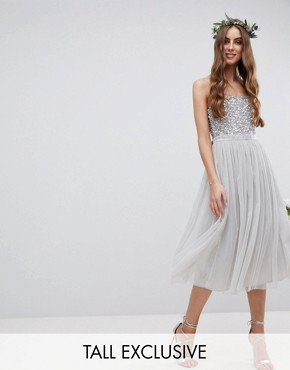 photo Cami Strap Sequin Top Tulle Detail Midi Bridesmaid Dress by Maya Tall, color Micro Chip - Image 1