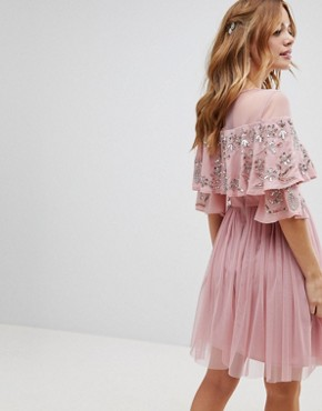 photo Sheer Detail Sequin Cape Overlay Detail Midi Dress by Maya Petite, color Vintage Rose - Image 2