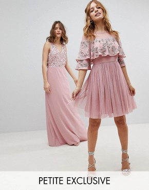 photo Sheer Detail Sequin Cape Overlay Detail Midi Dress by Maya Petite, color Vintage Rose - Image 1