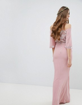 photo All Over Embellished Bardot Maxi Bridesmaid Dress with Fluted Sleeves by Maya Tall, color Vintage Rose - Image 2