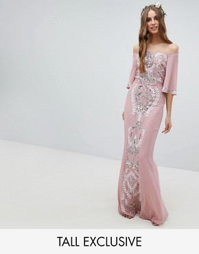 photo All Over Embellished Bardot Maxi Bridesmaid Dress with Fluted Sleeves by Maya Tall, color Vintage Rose - Image 1