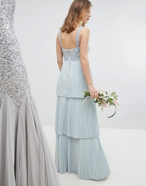 photo Floral Sequin Top Maxi Bridesmaid Dress with Tiered Ruffle Pleated Bridemaid Skirt by Maya Petite, color Ice Blue - Image 2