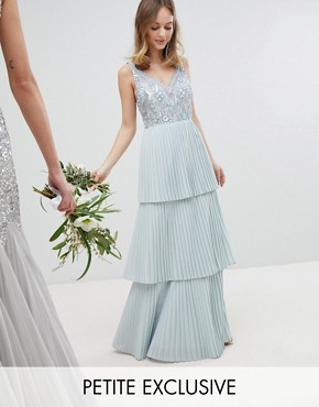 photo Floral Sequin Top Maxi Bridesmaid Dress with Tiered Ruffle Pleated Bridemaid Skirt by Maya Petite, color Ice Blue - Image 1