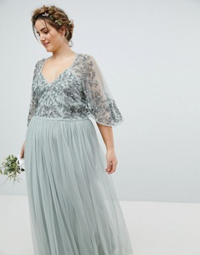 photo Sequin Cape Tulle Skirt Maxi Bridesmaid Dress by Maya Plus, color Green Lily - Image 2