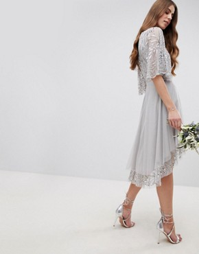 photo Sequin Cape Detail Midi Bridesmaid Dress with High Low Hem by Maya Tall, color Micro Chip - Image 2