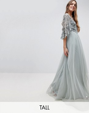 photo Sequin Cape Tulle Skirt Maxi Bridesmaid Dress by Maya Tall, color Green Lily - Image 1