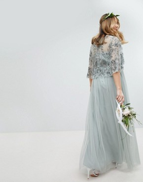 photo Sequin Cape Tulle Skirt Maxi Bridesmaid Dress by Maya Maternity, color Green Lily - Image 2