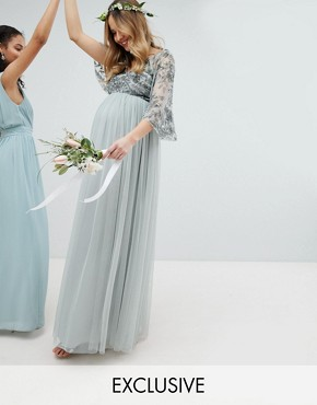 photo Sequin Cape Tulle Skirt Maxi Bridesmaid Dress by Maya Maternity, color Green Lily - Image 1