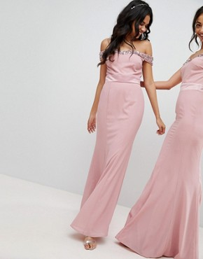 photo Bardot Sequin Detail Maxi Dress with Bow Back Detail by Maya, color Vintage Rose - Image 2