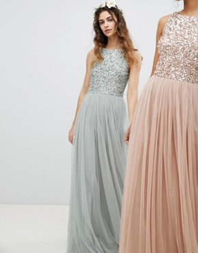 photo Sleeveless Sequin Bodice Tulle Detail Maxi Bridesmaid Dress with Cutout Back by Maya, color Green Lily - Image 2