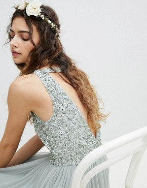 photo Sleeveless Sequin Bodice Tulle Detail Maxi Bridesmaid Dress with Cutout Back by Maya, color Green Lily - Image 3
