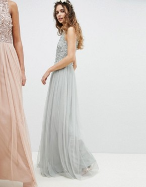 photo Sleeveless Sequin Bodice Tulle Detail Maxi Bridesmaid Dress with Cutout Back by Maya, color Green Lily - Image 4