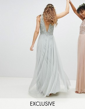 photo Sleeveless Sequin Bodice Tulle Detail Maxi Bridesmaid Dress with Cutout Back by Maya, color Green Lily - Image 1