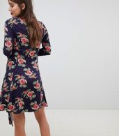 photo Mini Dress with Hanky Hem and Frill Cuff in Spot Floral Print by ASOS Maternity, color Multi - Image 2