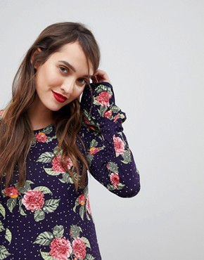 photo Mini Dress with Hanky Hem and Frill Cuff in Spot Floral Print by ASOS Maternity, color Multi - Image 3