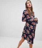 photo Mini Dress with Hanky Hem and Frill Cuff in Spot Floral Print by ASOS Maternity, color Multi - Image 4
